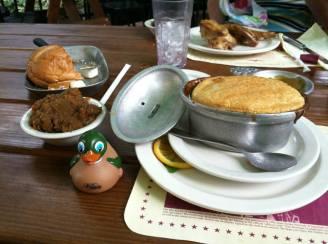 Sweet potato pudding and game pye