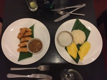 Banana fritters and mango with sticky rice