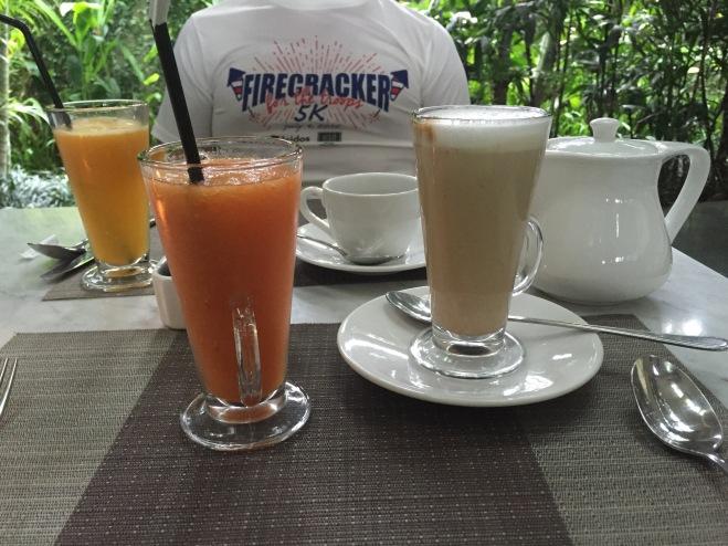 Pineapple juice, Tangerine juice, and a latte