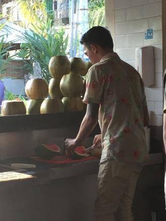 Making FRESH watermelon juice!