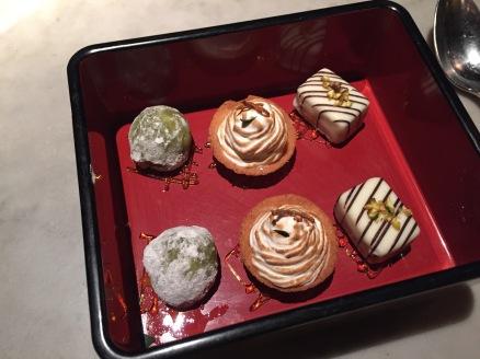 Mini mocha ice creams, lemon meringue pie, white chocolate truffles