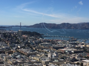 Golden Gate in the distance, jet streaks in the foreground