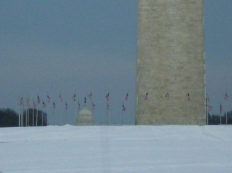 Washington Monument, American Flags, and Capitol in the distance