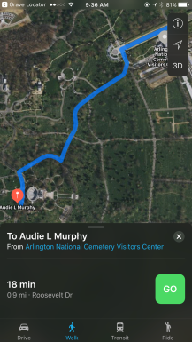 """Scroll down and tap on """"View Gravesite Map"""" to get directions"""